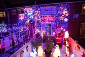 Lights and decorations in Bagnall Street, in Leamore, Walsall