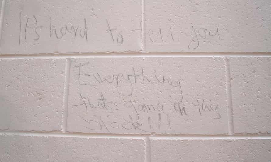 Graffiti inside the Don Dale juvenile detention facility in Darwin after a group of boys destroyed furniture and walls before escaping the facility.
