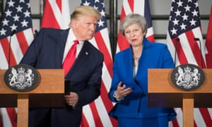 Donald Trump and Theresa May attend a joint press conference at the Foreign Office in London.