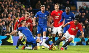 Chelsea in action against Manchester United in February.
