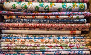 On a roll: block-printed fabrics in a showroom in Jaipur.