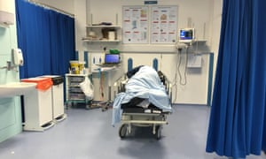 Suspected drunk male brought into the assessment area of A&E in University Hospital, Southampton