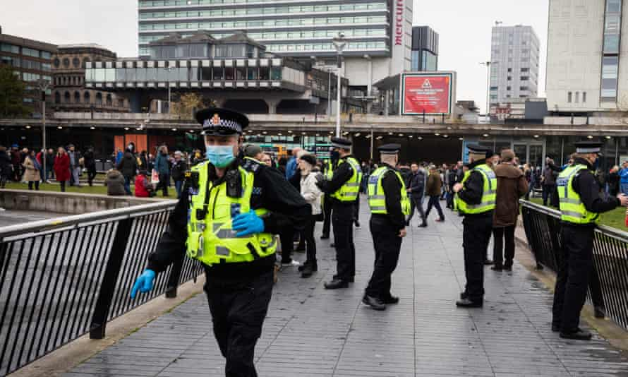 An anti-lockdown protest in Piccadilly Gardens, Manchester.