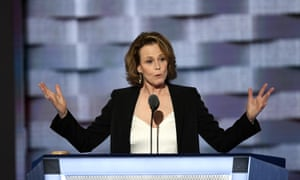 Sigourney Weaver introduces James Cameron's film at the Democratic national convention.