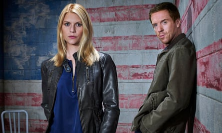 Claire Danes as Carrie Mathison and Damian Lewis as Nicholas Brody in Homeland.