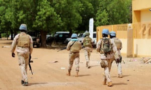 UN peacekeeping soldiers patrol the streets of Gao where the UK troops are expected to be based.