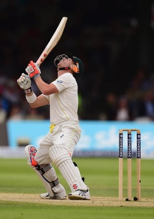 Despite this unorthodox shot, Warner predictably goes on to make an unbeaten 60 at close