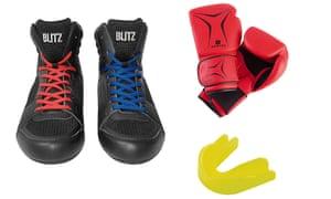 From left: boxing boots, £29.99,  blitzsport.com; beginner's boxing gloves, £7.99, domyos.co.uk; mouldable gum shield, £2.49, blitzsport.com