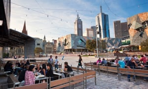 """""""This is a nice sport for people to be"""" ... Bars at the edge of Federation Square."""