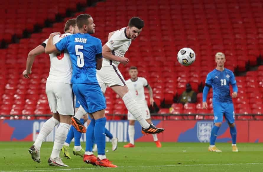 Declan Rice guides Phil Foden's free-kick into the corner to open the scoring.