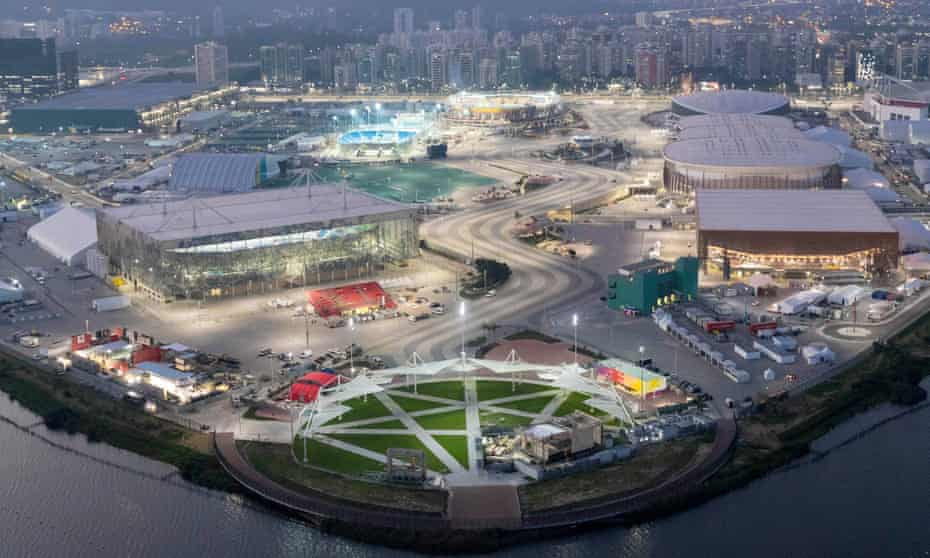 'A lush green parkland'? ... in Aecom's Rio Barra Olympic park, venues are arranged either side of a stripy pathway inspired by wavy paving along Copacabana beach.