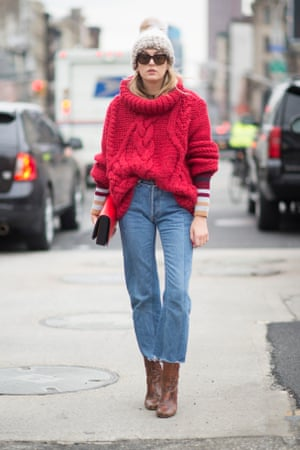 Frayed hem jeans as modelled by Camille Charriere.
