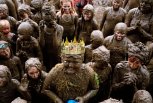 Westland, US Brian Wilson smiles after being crowned king during Wayne County's annual Mud Day in Michigan