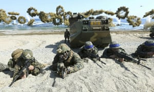US and South Korean troops take part in a military exercise at Pohang in 2016.