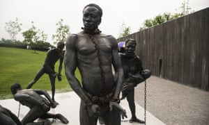 A sculpture commemorating the slave trade greets visitors at the entrance National Memorial For Peace And Justice, in Montgomery, Alabama.