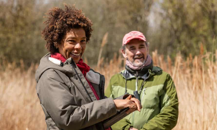 Sophie Okonedo and Mark Rylance among the reeds, on location in Norfolk.