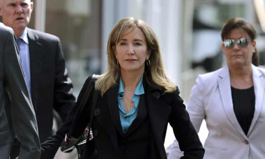 Felicity Huffman arrives at court in Boston on Wednesday.