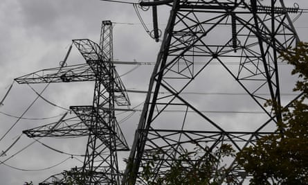 Electricity pylons in east London