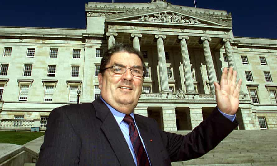 John Hume in front of the Stormont building, Belfast, November 2001.