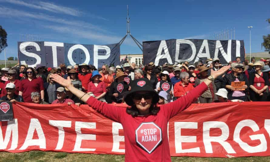 Protesters against the Adani coalmine outside Parliament House