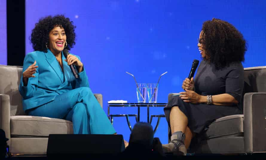 Tracee Ellis Ross and Oprah Winfrey during Oprah's 2020 Vision: Your Life in Focus Tour in 2020.