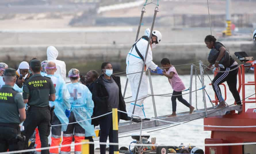 Migrants arriving at the Canary island Fuerteventura this June