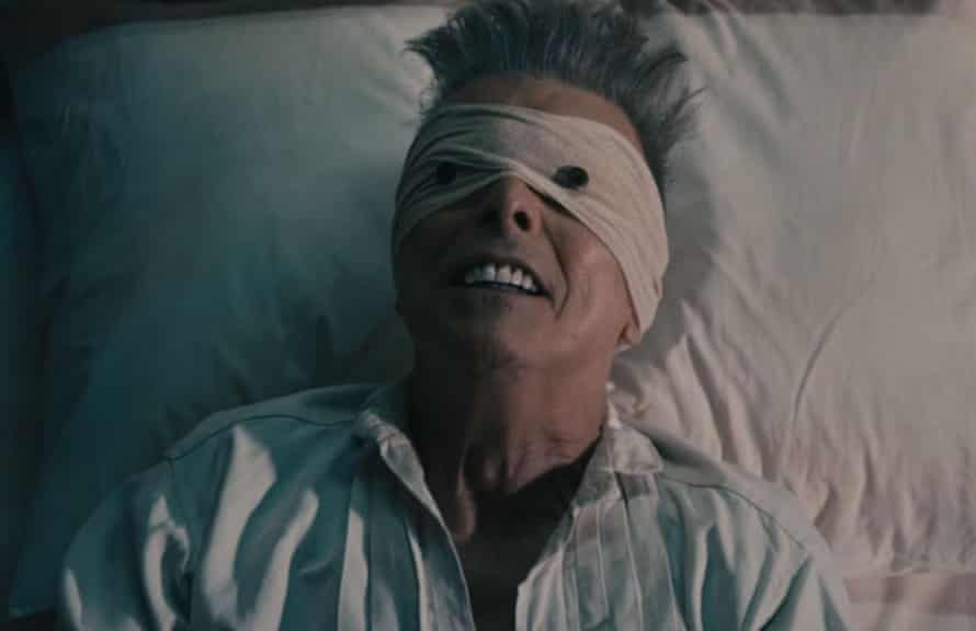 David Bowie in the Lazarus video.