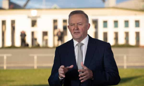 Labor leader Anthony Albanese on breakfast TV outside Parliament House on budget day.