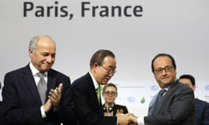 Laurent Fabius, Ban Ki-moon and François Hollande.
