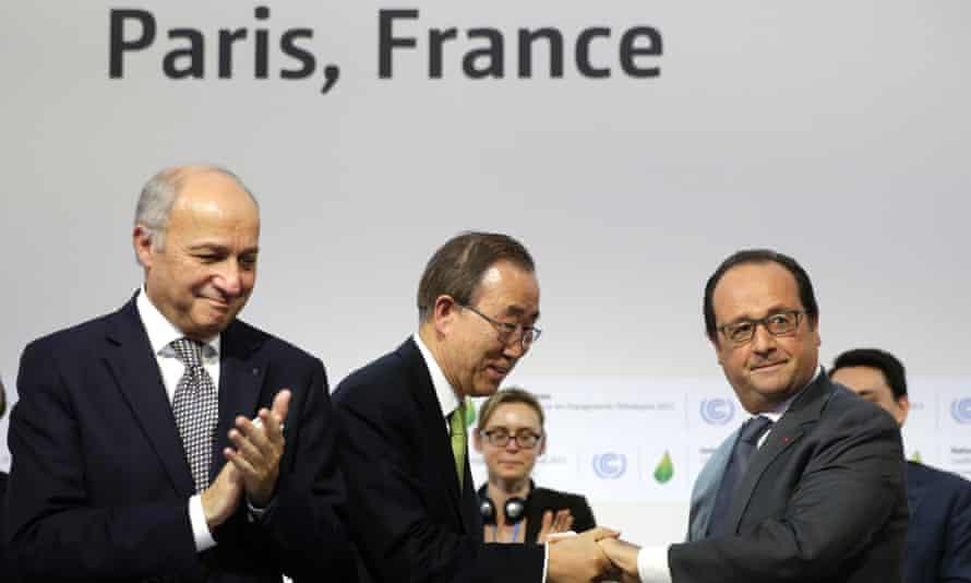 Laurent Fabius, Ban Ki-moon and François Hollande.