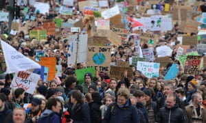 Protesters during a 'Fridays for Future' demonstration against climate change in Hamburg, Germany, 01 March 2019. Thousands of students joined the school strike.