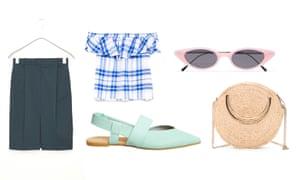 Skirt, £69, cosstores.com Bardot top, £19.99, zara.com Shoes, £65, office.co.uk Bag, £45, stories.com Sunglasses, £170 by Illesteva from net-a-porter.com