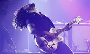 David Le'aupepe of Gang of Youths performing on stage during the 2017 Aria awards