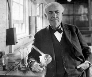 Thomas Alva Edison in his laboratory in West Orange, New Jersey