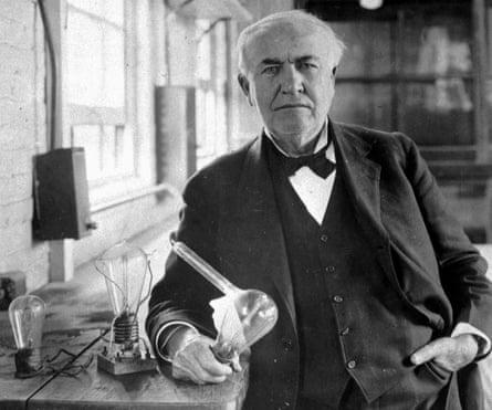 Thomas Alva Edison in his laboratory in West Orange, New Jersey