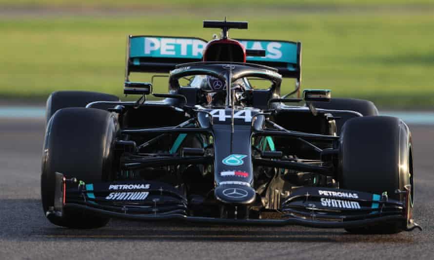 Lewis Hamilton in practice at the Abu Dhabi GP