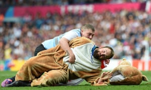 Some get a bit too excited and encroach on the pitch