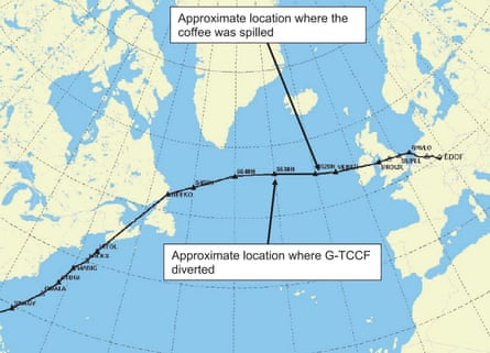 Cockpit coffee spillage causes transatlantic flight diversion. Planned rout and approximate location where the commander decided to divert.