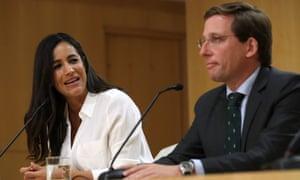 José Luis Martínez-Almeida and deputy mayor Begoña Villacís of the centre-right Citizens party.