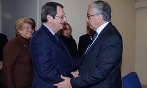 The Cyprus president, Nicos Anastasiades (L), meets the Turkish Cypriot leader, Mustafa Akıncı, in Nicosia