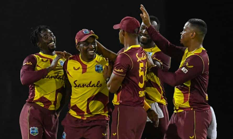 West Indies claim first T20 after Australia collapse | Australia cricket  team | The Guardian