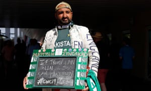 A Pakistan fan with a topical message at Trent Bridge.