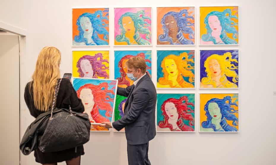 Have we moved on since Warhol? … Rob and Nick Carter, 12 Robot Paintings at Frieze art fair in Regent's Park, London.