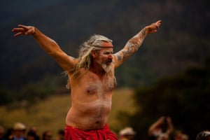 A dancer performs on Yuin country for the healing corroboree