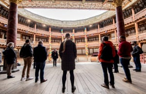 London, UKTour Guide Gerard Gilroy talks as the public tours resume at the Globe Theatre
