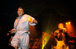 'Look at that loaded guy' … Bez performs alongside Shaun Ryder of Happy Mondays in 1990.