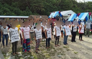 Refugees and asylum seekers on Nauru protest their indefinite detention by the Australian government.