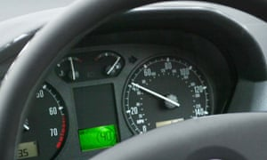 A speedometer in a car.