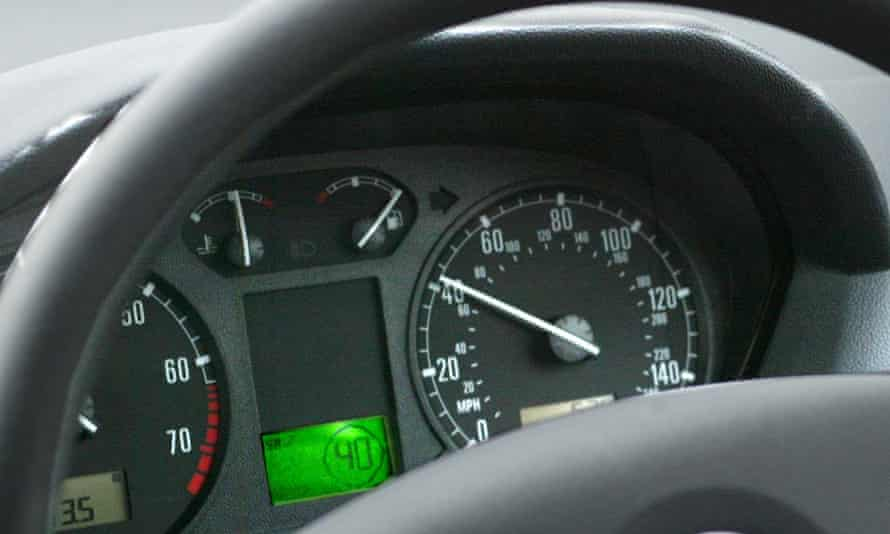 The steering wheel in a car.