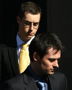 Mark (right) and Anthony Darwin leaving court after giving evidence against their mother.